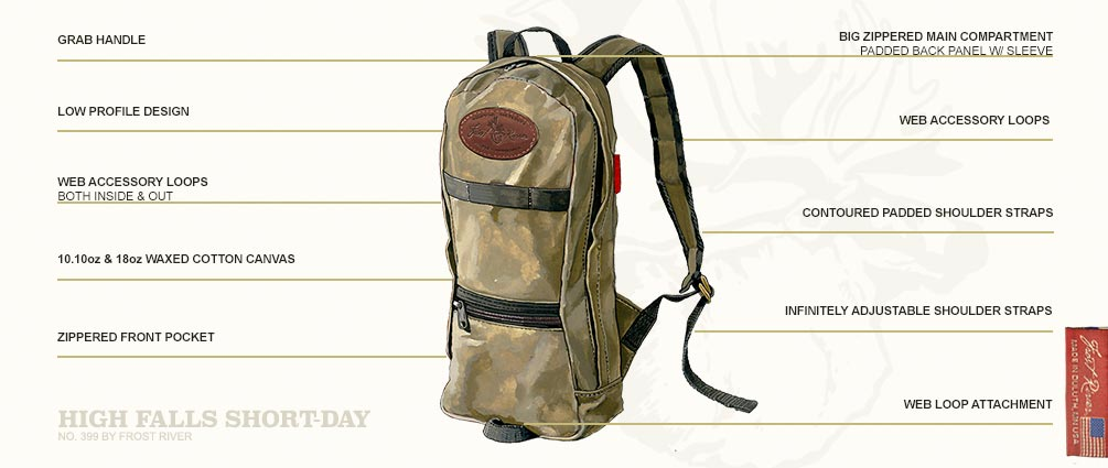 No.399 High Falls by Frost River. A high speed, low profile daypack built for adventures from heritage waxed canvas and cotton web. Made in USA and guaranteed for life.
