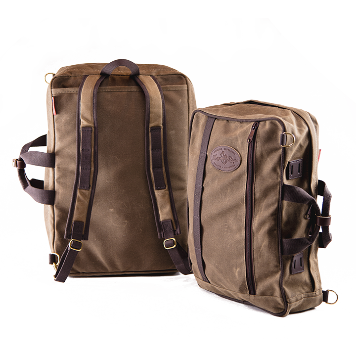 The Frost River Voyageur Backpack Crossovers are equally at home on a back or over a shoulder and fit in the great outdoors and the wood paneled walls of the boardroom.