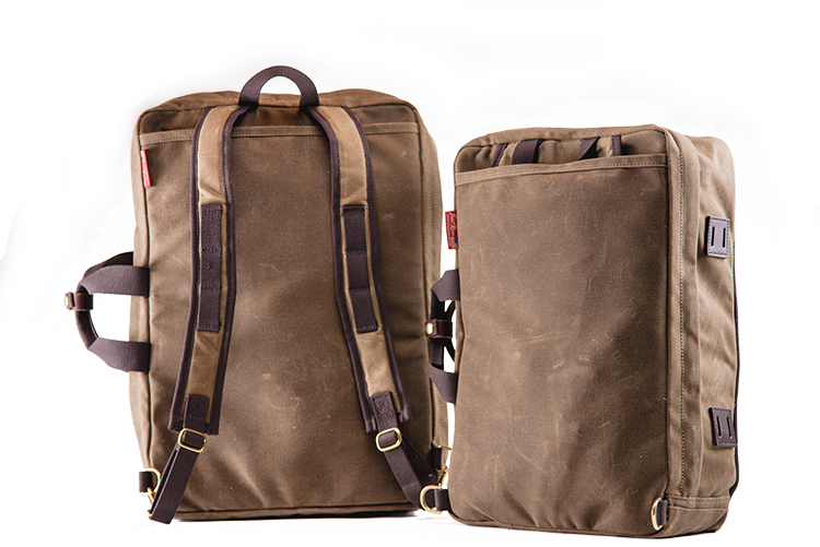 The Frost River Voyageur Backpack Crossovers (Luggage at left with backstraps deployed, brief at right with backstraps stowed) are equally at home on a back or over a shoulder and fit in the great outdoors and the wood paneled walls of the boardroom. Thoughtful details like bridle leather lash squares, a snapped leather handle keeper, daisy chain, the interior XP snap grid and more make these versatile travelers.