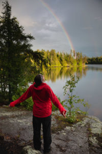 Rainbows arc across the sky after a Boundary Waters hailstorm in September 2016. Photo by Alex Messenger