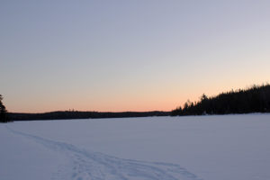 Sunset on Basswood Lake in the BWCAW as the temperature drops below zero F.