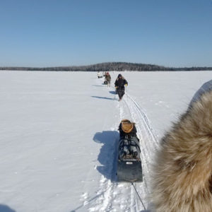 A toboggan caravan makes its way across the lake ice on a winter camping expedition in the BWCA. Photo: @RyanFox4